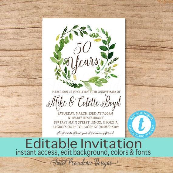 50th anniversary invitation surprise anniversary party invitation