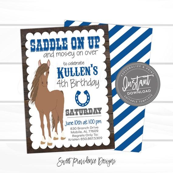 Horse Birthday Invitation Country Western