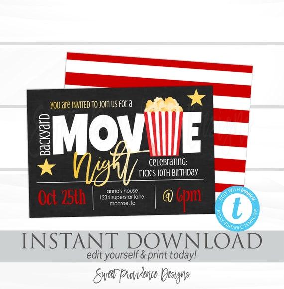 movie night invitation birthday movie party backyard movie night