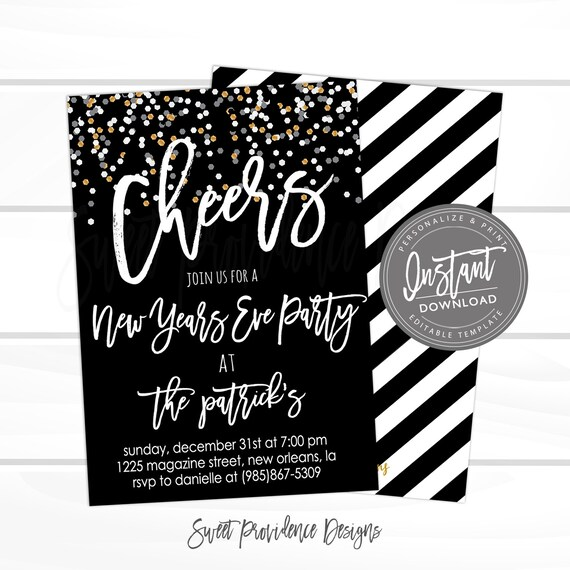 new years eve party invitation cheers editable 2019 nye party new