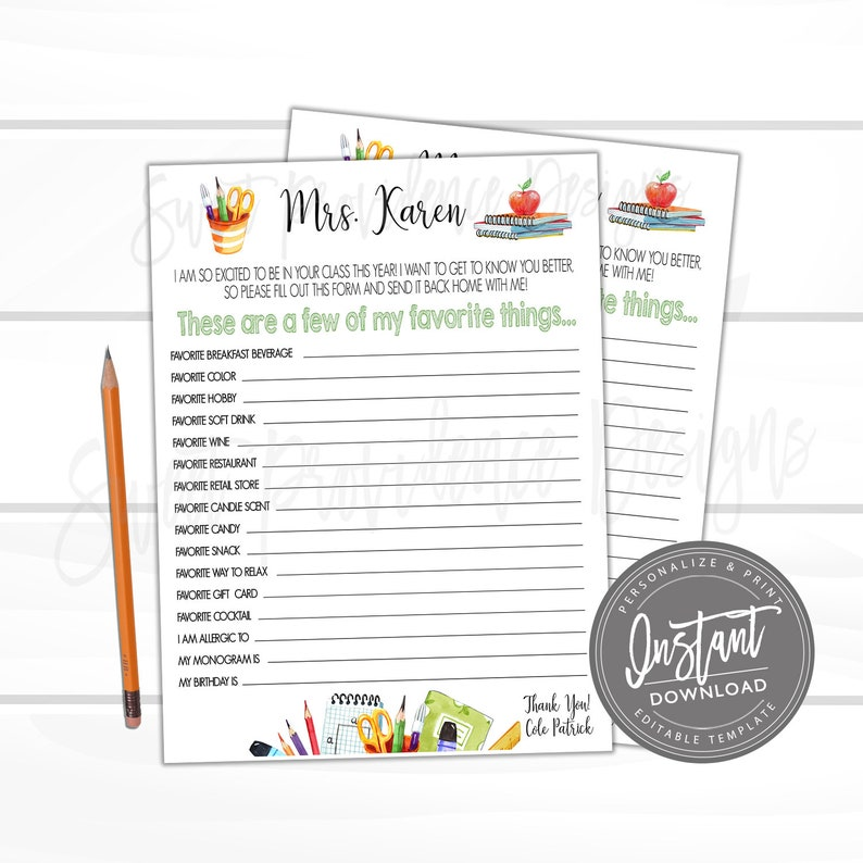 image regarding Teacher Favorite Things Questionnaire Printable identified as Academics Most loved Aspects, Printable Instructor Questionnaire Study, Couple of of My Beloved Components, Reward Letter, Appreciation, EDITABLE Fast