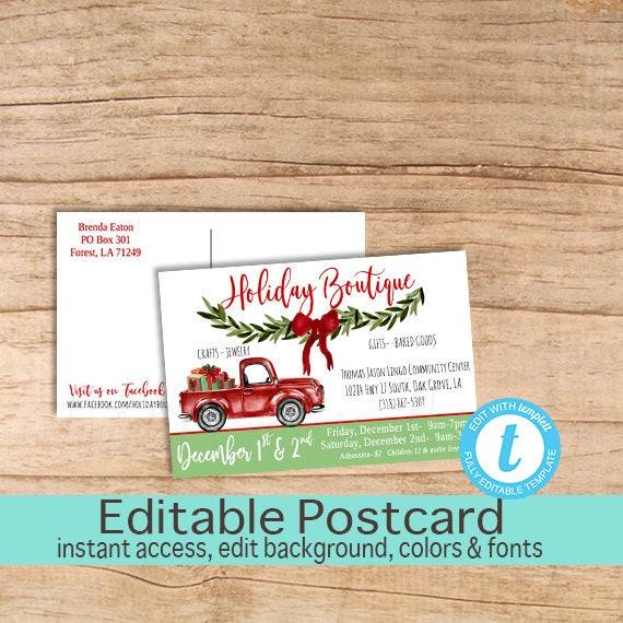 Craft Show Postcard Christmas Holiday Fair Fest Vendor Market