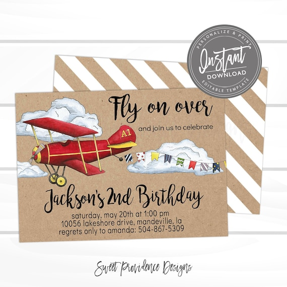 Plane First Birthday Invitation Red Template Fly