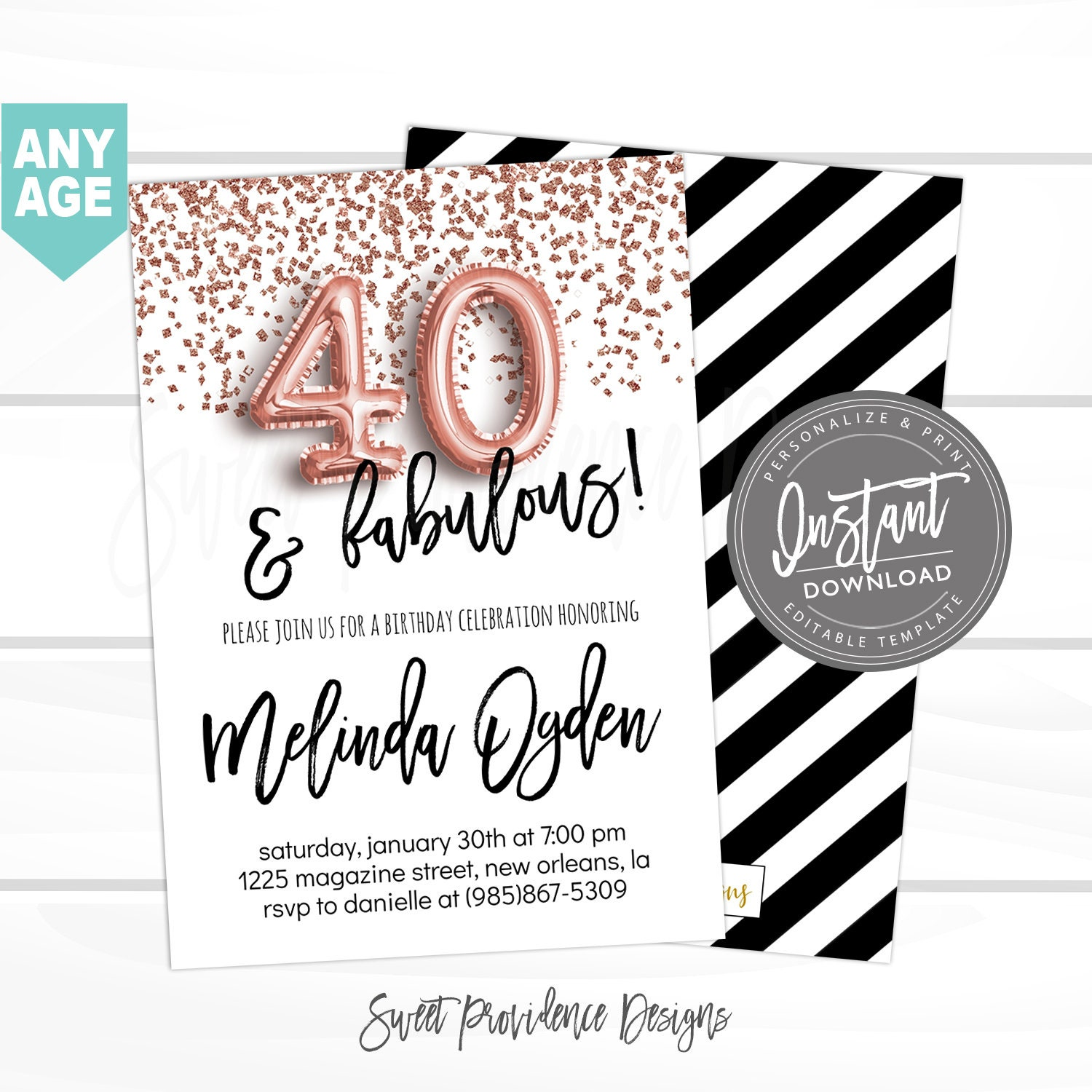 40th Birthday Invitation Forty And Fabulous Editable 40th Etsy