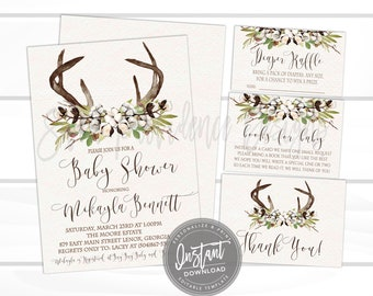 Rustic Baby Shower invitation Kit, Fall Cotton Boll Antlers Invite, Gender Neutral, DIY Editable Invitation template, Instant Access