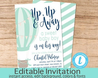Hot air balloon invitation, Balloon Baby Shower Invitation, Blue Balloon Invitation, Aqua Balloon Invite template, Editable Instant Download