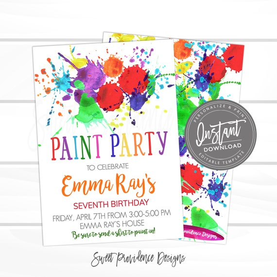 Paint Party Birthday Invitation Art Kid Editable Invite Template Instant Download