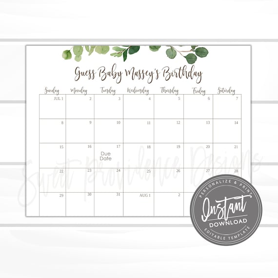 Black White Baby Shower Decor Guess Baby/'s Due Date Calendar Baby Shower Game Sign Gender Neutral Editable Template Download S130