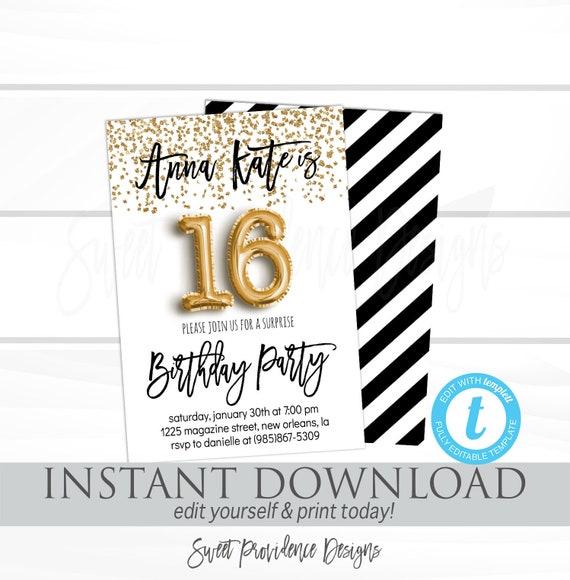 16th Birthday Invitation Editable Black