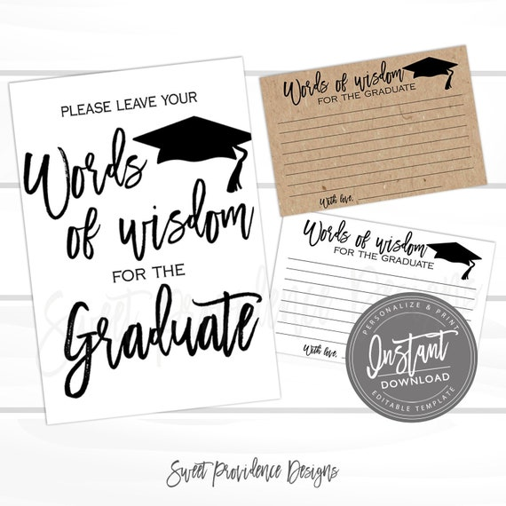 graphic about Free Printable Graduation Advice Cards referred to as Text of knowledge Playing cards and Indicator, Commencement Social gathering Decor