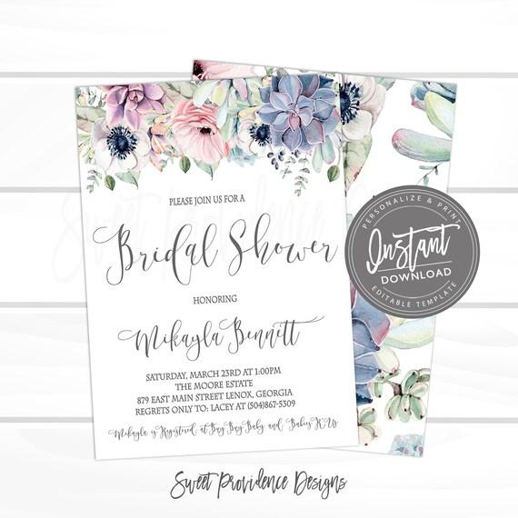 28b832e6f3b Watercolor Boho Succulent Bridal Shower Invitation