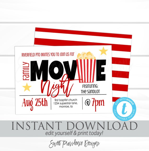 family movie night flyer school or church movie party pto