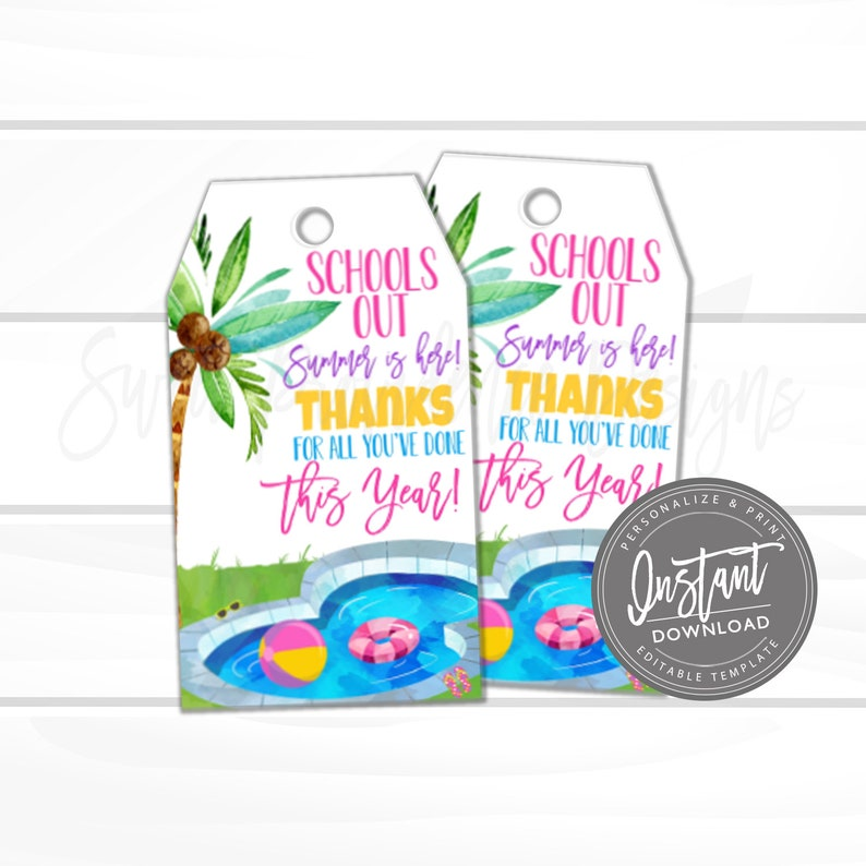 Teacher Appreciation Gift Tag, Fun in the Sun, Thank You Favor Tag, beach  tote, End of School Year, summer Tag Printable, Instant Download