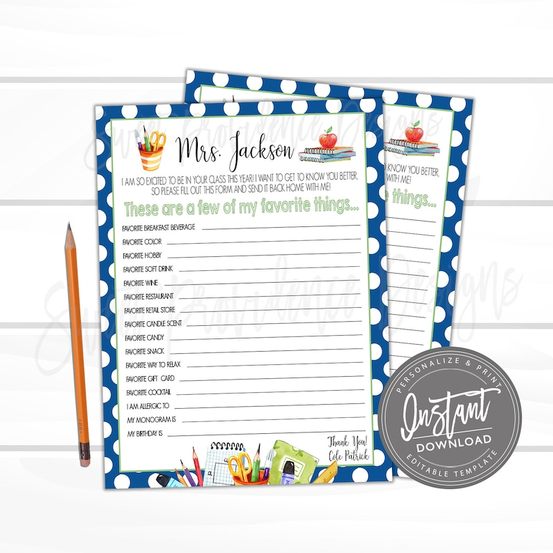 photograph regarding Teacher Favorite Things Questionnaire Printable identified as Printable Academics Preferred Elements, Instructor Questionnaire Study, Several of My Preferred Aspects, Present Letter, Appreciation, EDITABLE Fast