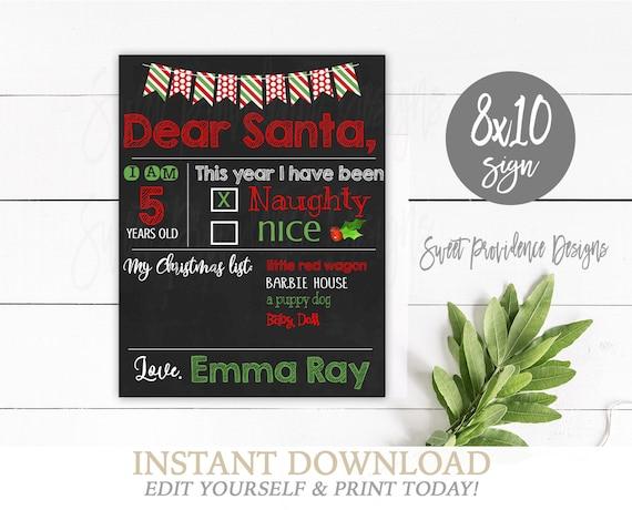 Dear Santa Chalkboard Editable Christmas Wish List