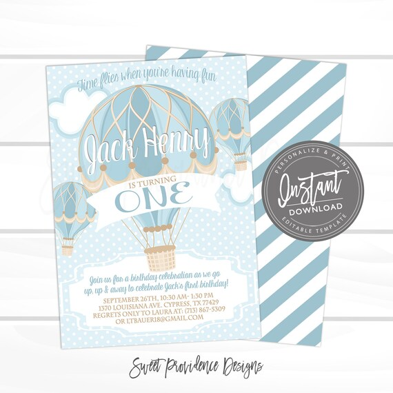 Hot Air Balloon First Birthday Invitation Boy Blue Invite Vintage Template Instant Access
