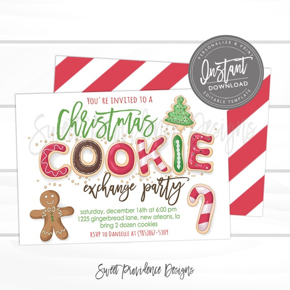 Christmas Cookie Exchange Invitation Editable Christmas Party Etsy