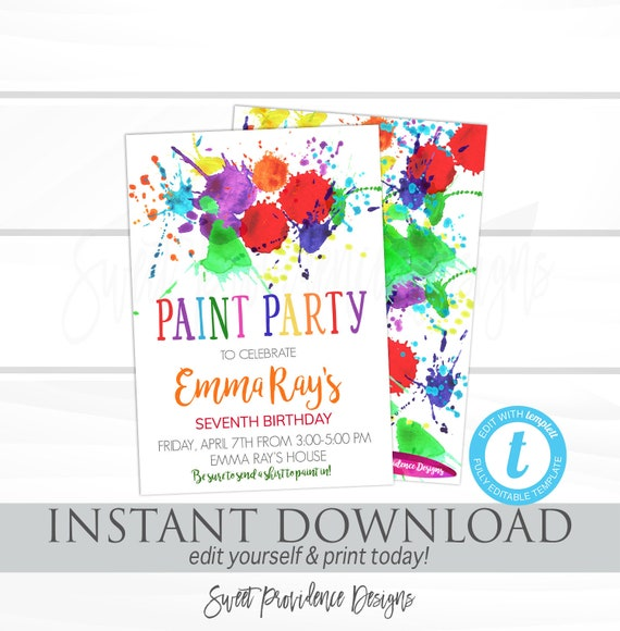 Paint party birthday invitation art party invitation kid birthday il570xn filmwisefo