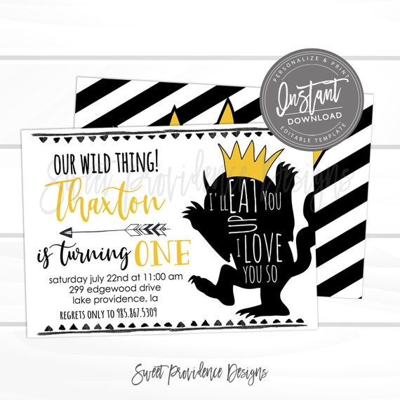 Wild One Birthday Invitation DIY Editable Invite Boy First Printable Instant Download