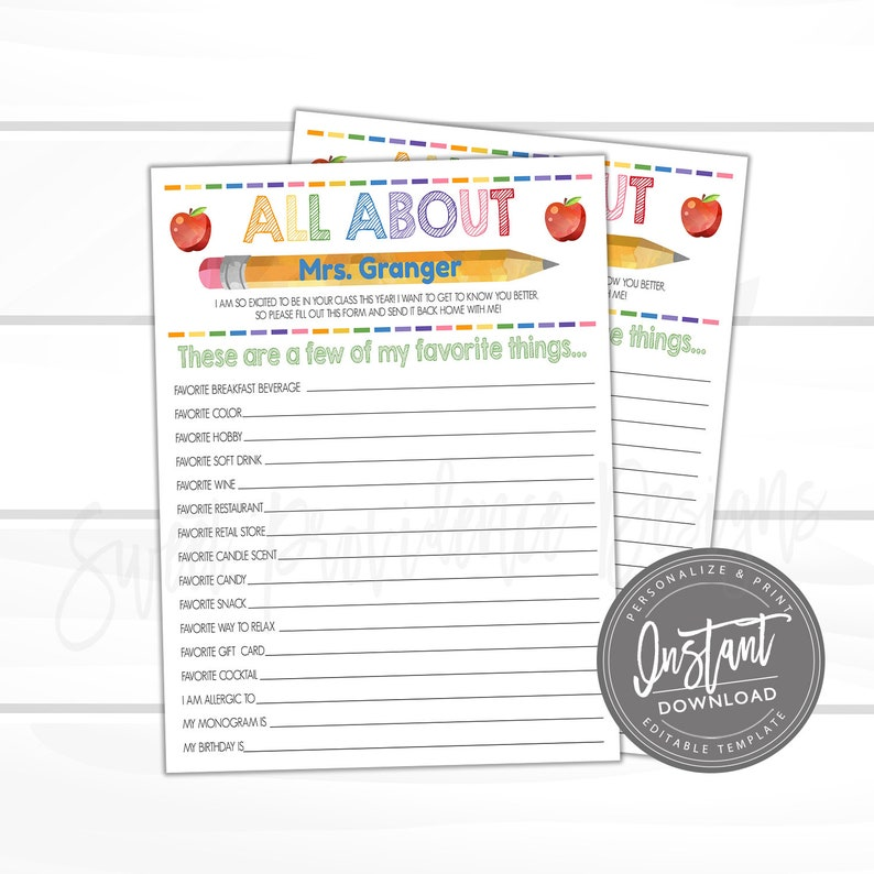 photo regarding Teacher Favorite Things Questionnaire Printable titled EDITABLE Instructor Study, Printable Academics Preferred Elements Questionnaire, Handful of of My Favored Variables, Reward Appreciation- Fast Attain