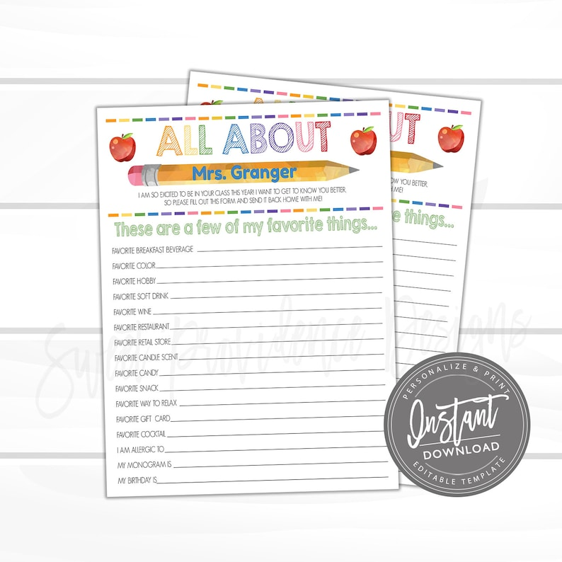 image relating to Teacher Favorite Things Printable called EDITABLE Trainer Study, Printable Academics Favored Components Questionnaire, Couple of My Preferred Aspects, Reward Appreciation- Immediate Reach