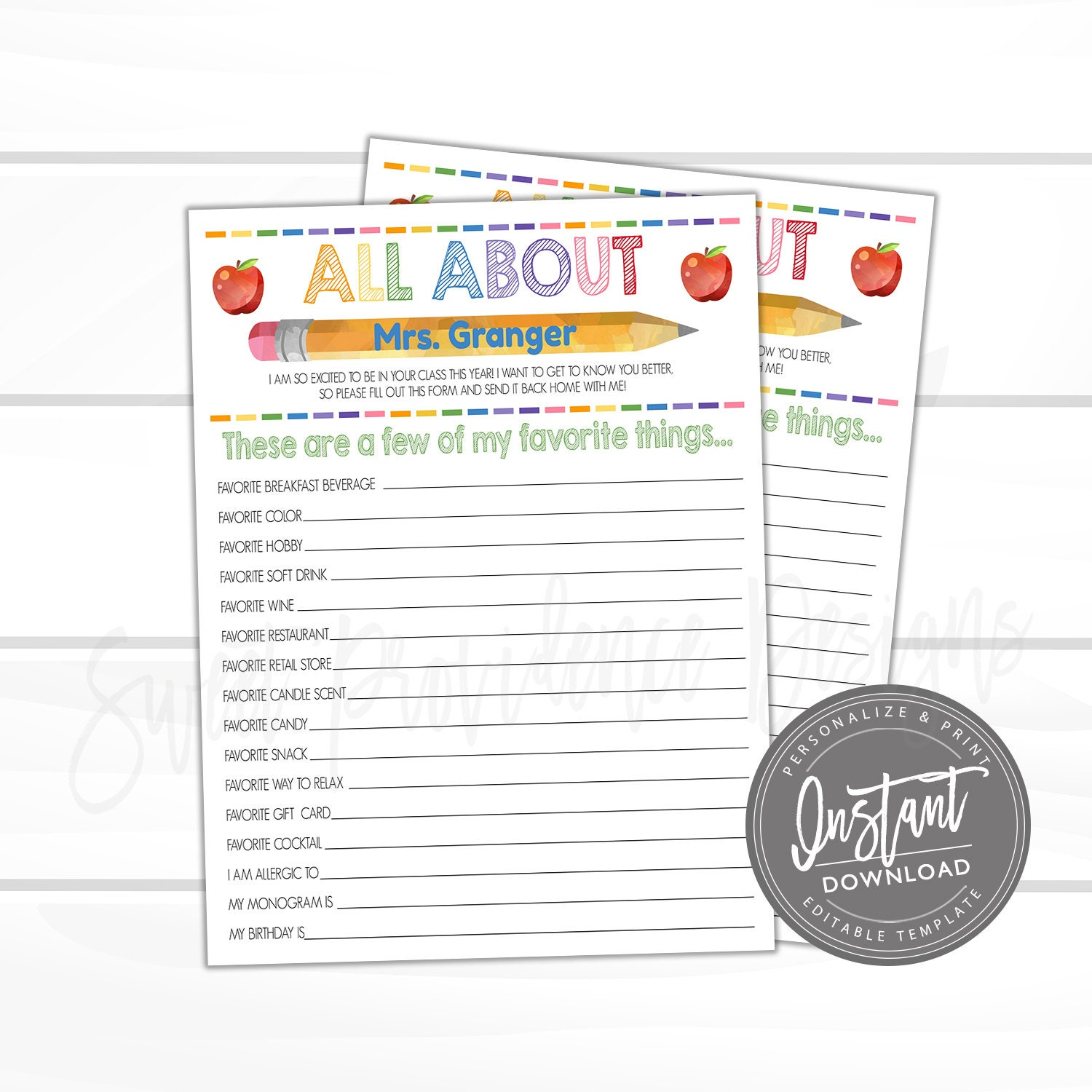 It is a graphic of Smart Teacher Favorite Things Printable