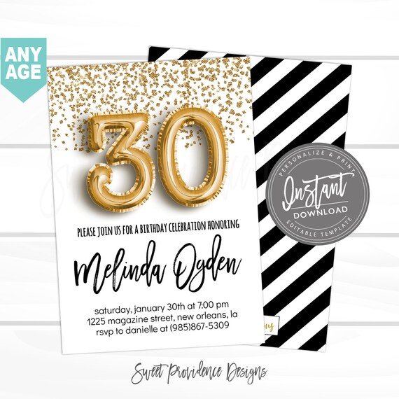 30th Birthday Invitation Editable Dirty 30 Black Gold Glitter Surprise Printable Invite Instant Download