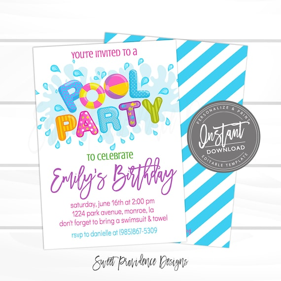 Pool Party Invitation Summer Invite Girl Birthday Editable Instant Download