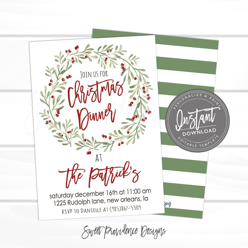 Christmas Dinner Invitation Party Editable Template Invite Winter Berry Wreath Instant Download