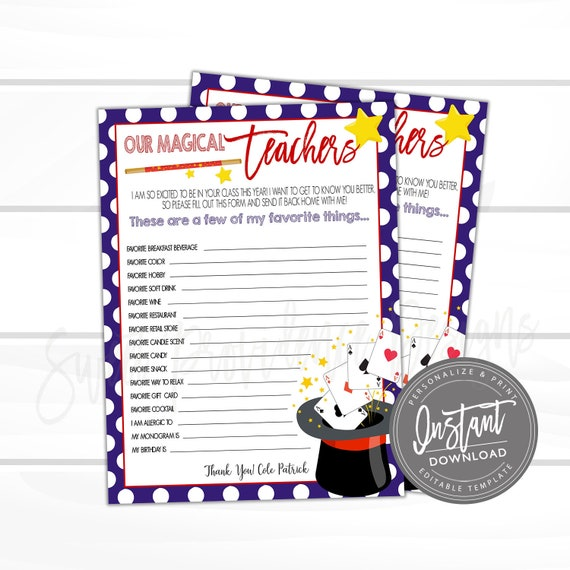 image relating to Teacher Favorite Things Printable named EDITABLE Trainer Study, Printable Lecturers Beloved Elements