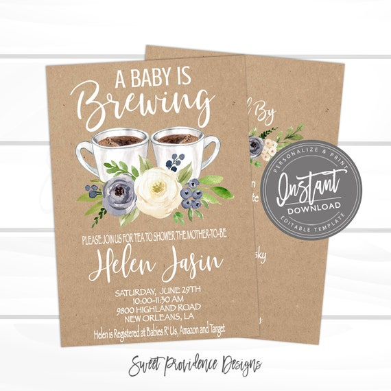 Baby Is Brewing Shower Invitation Coffee Tea Boy Invite