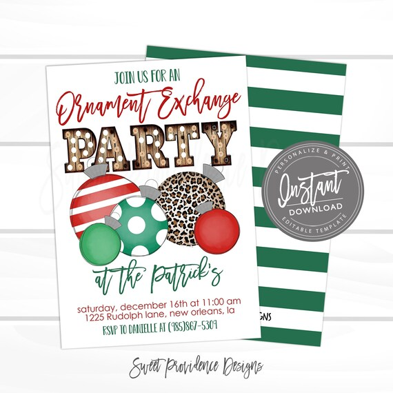 Ho Ho Ho Editable Ornament Swap Invite Holiday Party Decoration Gift Printable INSTANT ACCESS 5x7 Christmas Ornament Exchange Invitation