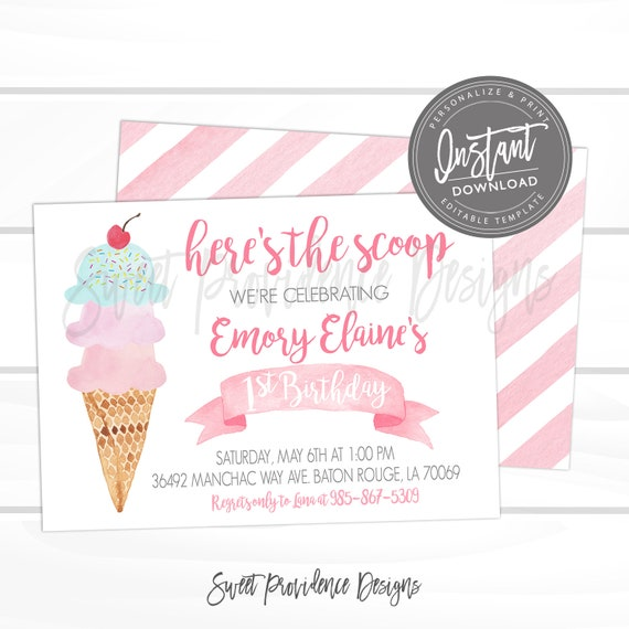 Ice Cream Birthday Party Invitation First Pink