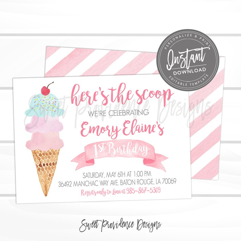 Ice Cream Birthday Party Invitation First Pink