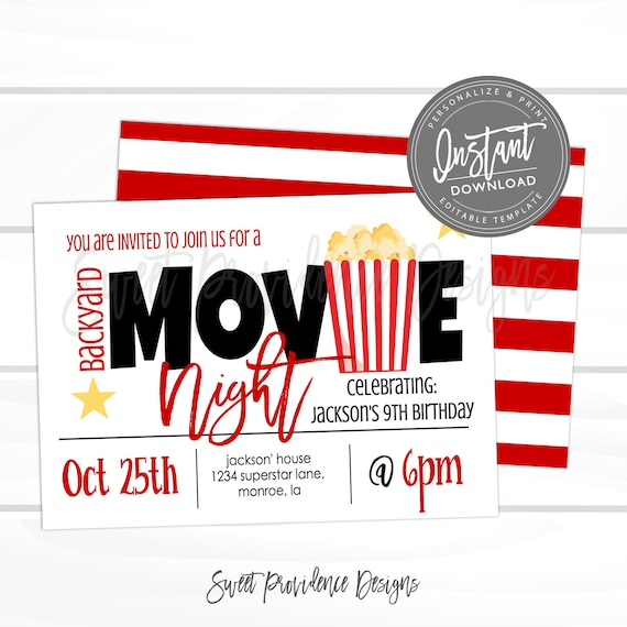Free Movie Night Template from i.etsystatic.com