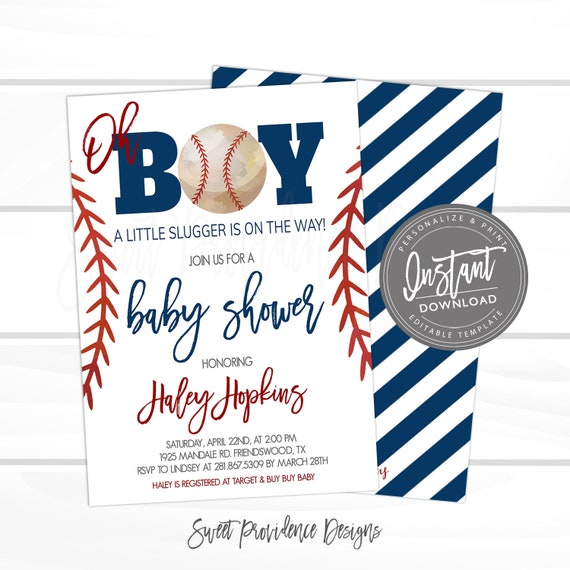 photograph about Free Printable Baseball Baby Shower Invitations referred to as EDITABLE Baseball Kid Shower Invitation, Very little Slugger Boy