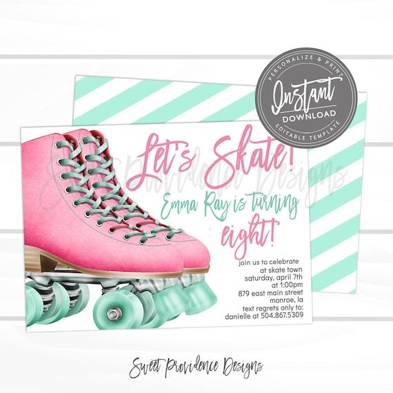 Roller Skating Birthday Party Invitation GIRL
