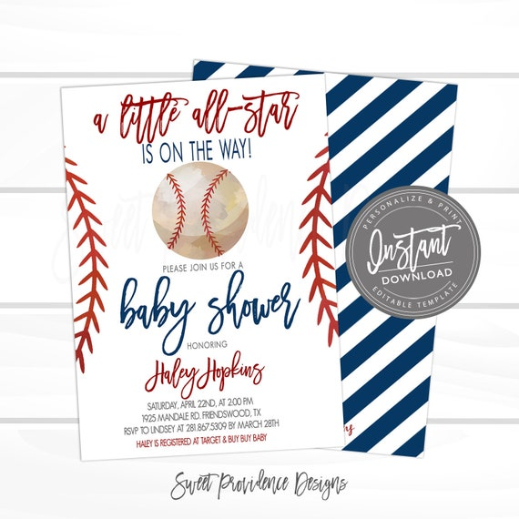 baseball baby shower invitation  little all star shower