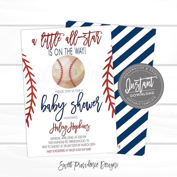 photo regarding Free Printable Baseball Baby Shower Invitations identify Baseball Youngster Shower Invitation, Minor All Star Shower