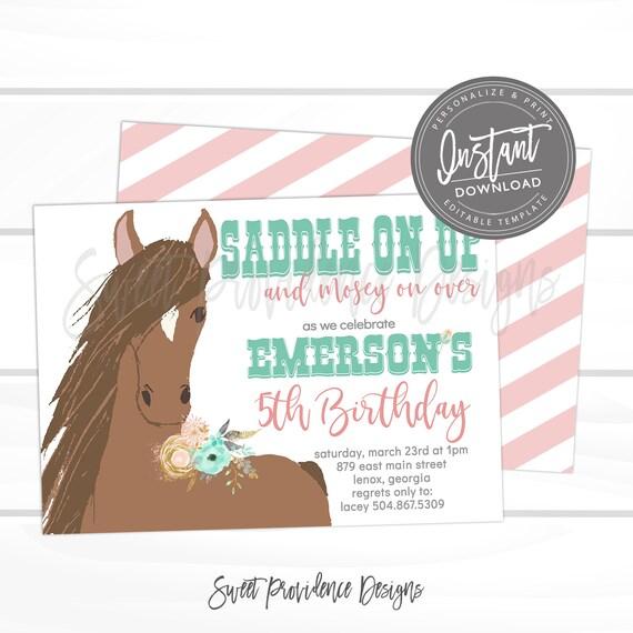 Horse Birthday Invitation Western Editable