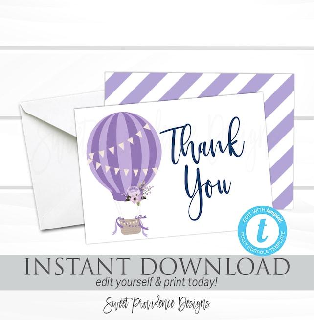 Hot Air Balloon Thank You Card, Printable Thank you Cards, Thank You, EDITABLE template, Instant Download, Purple Baby Shower Thank You Card
