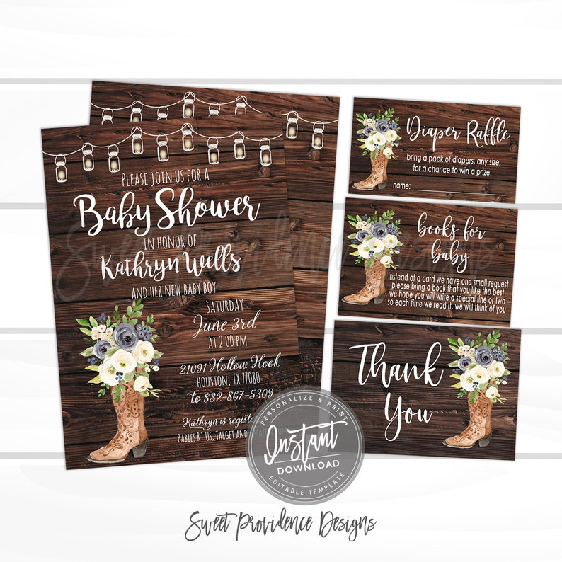 Baby Shower Invitations For Boys Design The Best For The Special Rustic Baby shower invitation Kit Blue Floral Boots | Etsy