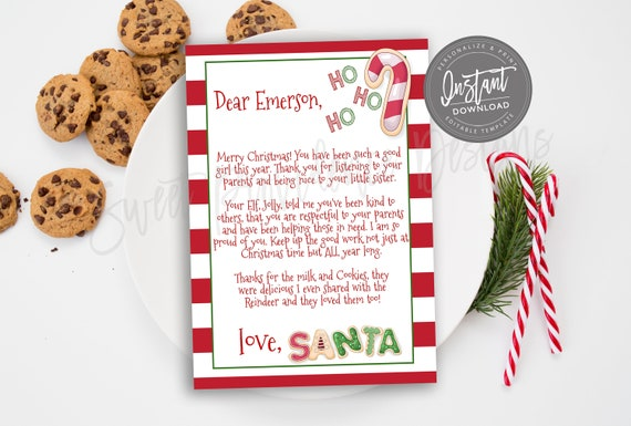 Editable Letter From Santa Printable Santa Letter Instant Download Personalized Christmas Eve Cookie Letter Santa Claus Nice List Edit Now By Sweet Providence Designs Catch My Party