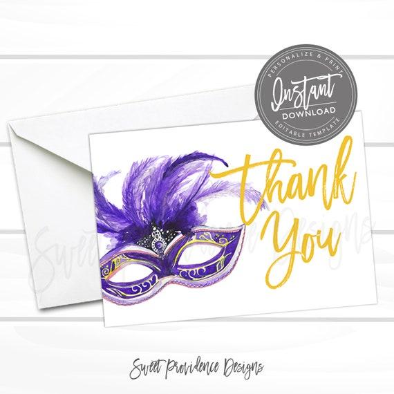 Mardi Gras Thank You Card, Editable Thank You Card, Editable Masquerade Thank You, Mardi Gras Mask Printable Invite, Instant Access
