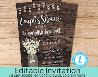 Rustic Couples Shower invitation, Editable Couples Shower Invite, Couple Shower Invitation, Fall Shower invite, Templett Instant Download