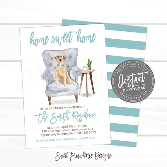 House Warming Party Invitation Editable Dog Home Sweet