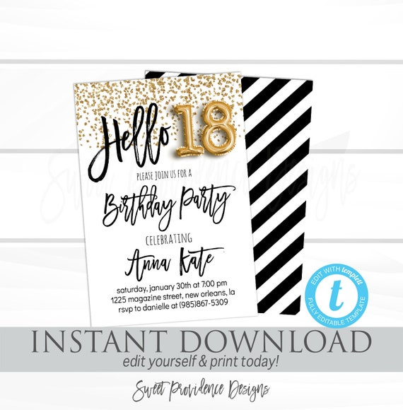 18th Birthday Invitation Editable Hello