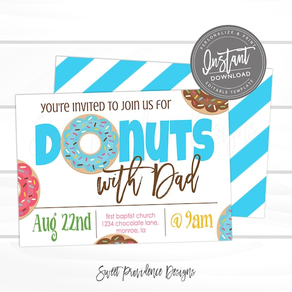 Donuts with Dad Invitation, School Flyer, Father's Day, PTO fundraiser, Editable template, Sweet Providence, Instant Access,