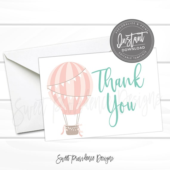 Hot Air Balloon Thank You Card Printable Thank You Cards Etsy