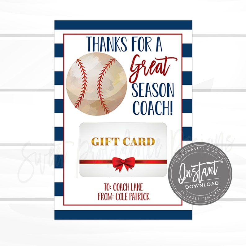 Editable Baseball Gift Card Holder End Of Baseball Season Coach Team Summer Gift Instant Download Printable Coach Gift From Player